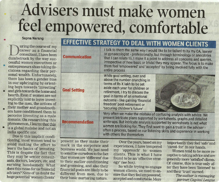 Advisers must make women feel empowered, comfortable'