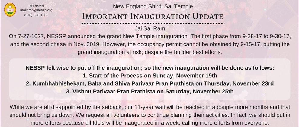 Inaguration Update