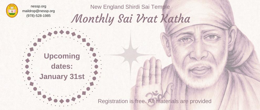 Samuhik Sai Vrat Katha, Wednesday, 31st January 2018, 6.00 PM EST